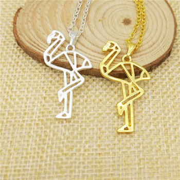 Drop Shipping Fashion Cute Flamingo Necklace Women Choker Pendant Necklace Collars Bird Jewelry Gift Gold Colr Silver Color image