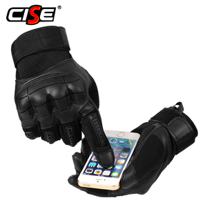 Image 3 - Touch Screen Leather Motorcycle Gloves Motocross Tactical Gear Moto Motorbike Biker Protective Gear Racing Full Finger Glove Men