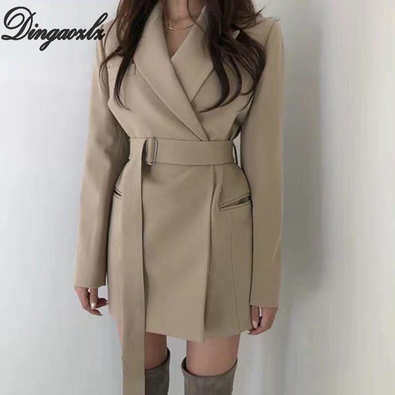 Dingaozlz Retro Women Blazer Suit Korean Fashion Female Cardigan Tops Elegant OL Outerwear Long Sleeve Autumn Winter Jacket
