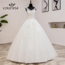 Женское классическое свадебное платье, Простое Элегантное платье с v образным вырезом и кружевной аппликацией, 2019, 8