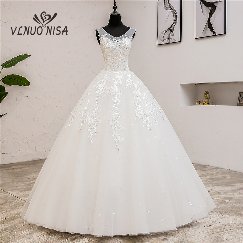 Fashion Classic Simple V Neck Wedding Dresses Vestidos De Novia Sweet Lace Applique Elegant Girls Gowns Robe De Mariage 2019  8