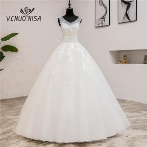 Image 1 - Fashion Classic simple V Neck Wedding Dresses Vestidos de novia Sweet Lace Applique elegant Girls Gowns Robe De Mariage 2019  8