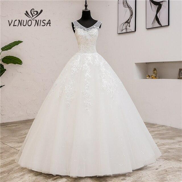 Fashion Classic simple V Neck Wedding Dresses Vestidos de novia Sweet Lace Applique elegant Girls Gowns Robe De Mariage 2019  8