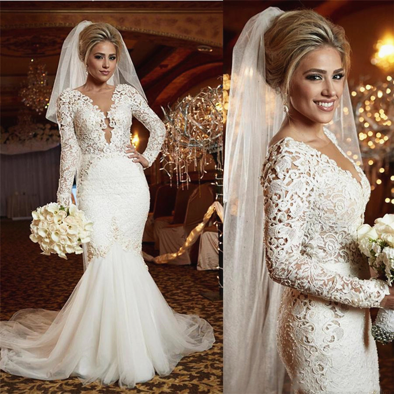 Long Sleeve Mermaid Wedding Dresses Pearls Lace Tulle Sheer Nude Neck Vestidos De Noiva Luxury Wedding Gowns For Bride