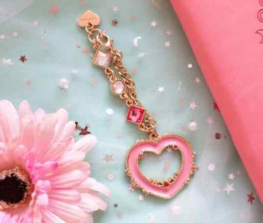 Anime Sailor Moon Chibi usa corazón Rosa llaveros llavero Metal mujeres niñas regalos bolsos llaves dijes colgante colección