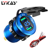 LYKAS Dual USB Car Charger Voltage Display Quick Charge 3.0 Aluminum Alloy Power Adapter for 12V 24V Motorcycles