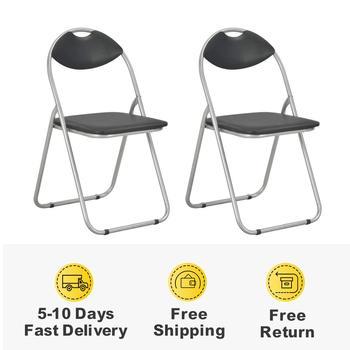 2 sztuk składane krzesła do jadalni z oparciem czarny krzesła do jadalni krzesło kuchenne ze sztucznej skóry dom umeblowanie krzesła nowoczesne tanie i dobre opinie vidaXL ES (pochodzenie) 800mm Jadalnia meble pokojowe 44 x 43 x 80 5 cm Minimalistyczny nowoczesny Jadalnia krzesło 284407