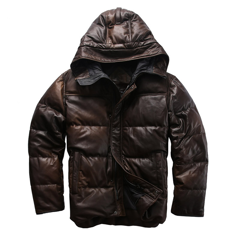 AH-909 Read Description! Quality Super Warm Genuine Sheep Skin Duck Down Leather Jacket Mens Sheep Leather Duck Down Coat