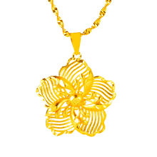 Chinese royal gold flower pendant Necklace for Women choker Necklace Pendant on neck Chokers Necklaces Jewelry Gifts No Chain(China)