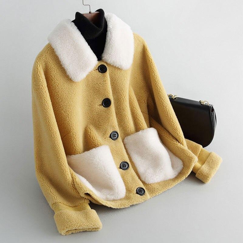 새로운 과립 양 모직 혼합 코트 여성 가을과 겨울 2019 패션 복합 양면 모피 겉옷 짧은 겨울 코트-에서인조 퍼부터 여성 의류 의  그룹 1