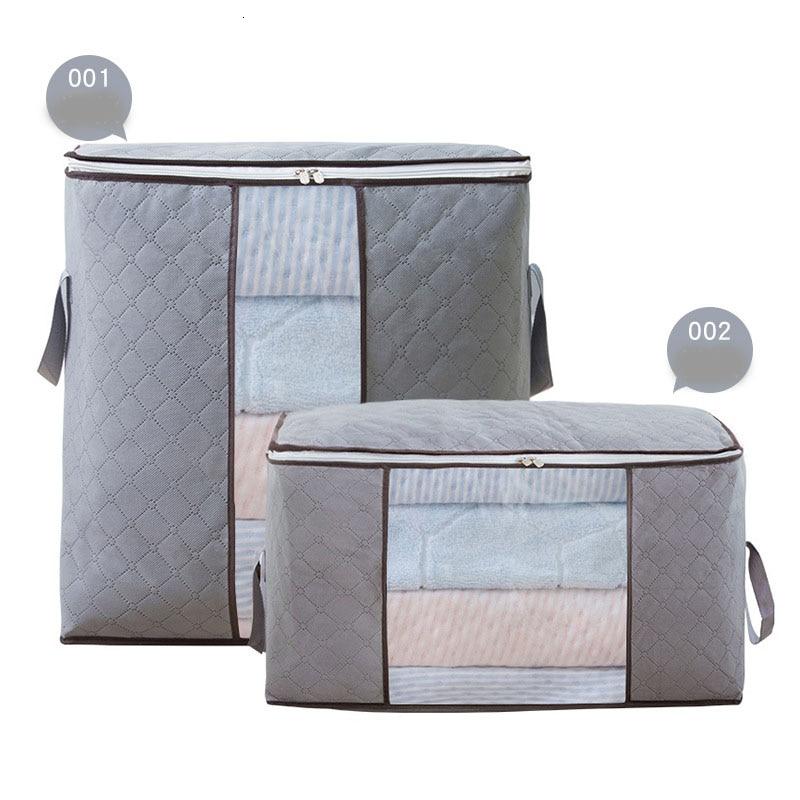 2PCS Non-woven Fabrics Clothing Quilt Soft Fold Storage Box Bag Dustproof Housekeeping Organization