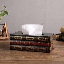 Detalles europeos americanos Vintage café verde rojo diseño de libro forma de rectángulo caja de pañuelos de madera decoración del hogar Mesa servilletero
