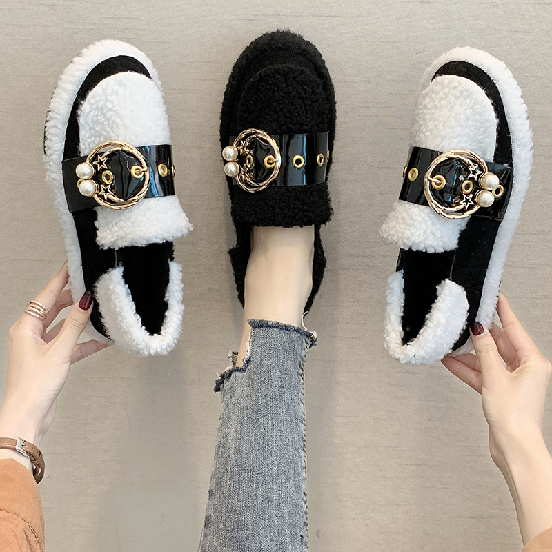 Women's Winter Flat Shoes Korean Suede Short Plush Lining Ladies Casual Sneakers Rubber Non-slip Bottom Winter Warm Womenshoes 36