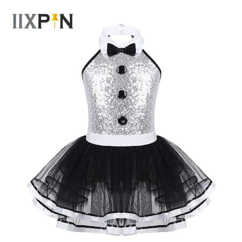 Girls Ballet Tutu Dress Sleeveless Shiny Sequins Decorative Buttons Dance Gymnastics Leotard Mesh Modern Jazz Dance Costume Kids