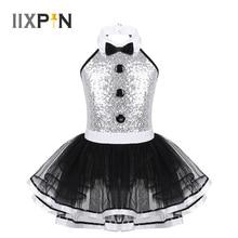 Girls Ballet Tutu Dress Sleeveless Shiny Sequins Decorative Buttons Dance Gymnastics Leotard Mesh Modern Jazz Dance Costume Kids