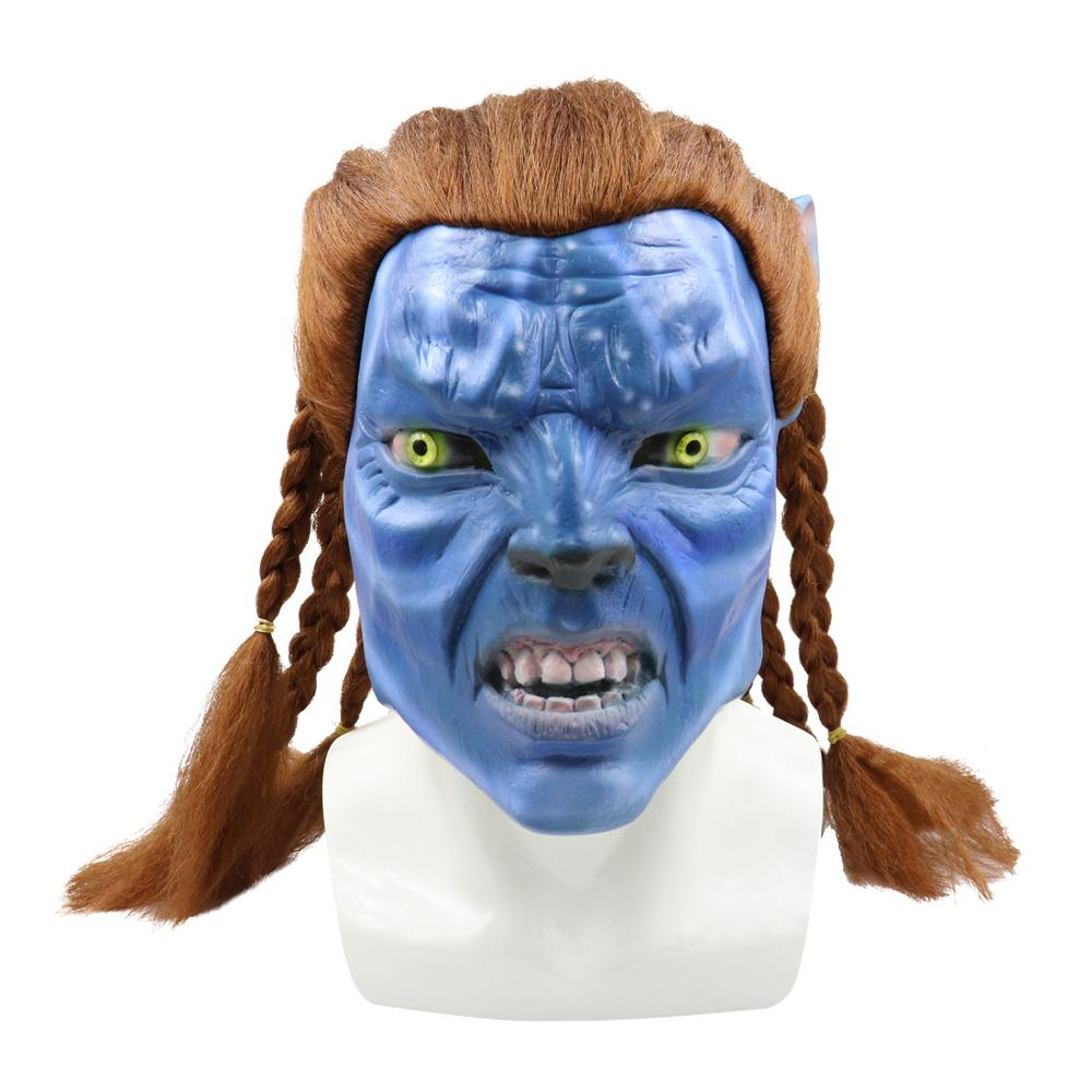 Movie <font><b>Avatar</b></font> 2 Jake Sully <font><b>Mask</b></font> Cosplay Props Latex Sam Worthington Unisex James Cameron Halloween Blue <font><b>Mask</b></font> image