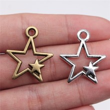 WYSIWYG 6pcs 27x21mm 2 Colors Antique Silver Color Antique Bronze Plated Star Charm Star Hollow Pendants Star Pendants Charm cheap Zinc Alloy Sun Moon Stars Fashion Metal Vintage Charms