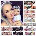 2 Teile/satz Mom & Baby Stirnbänder Mutter Baby Turban Mom Tochter Kaninchen Ohren Haarband Floral Print Eltern-Kind Haar zubehör