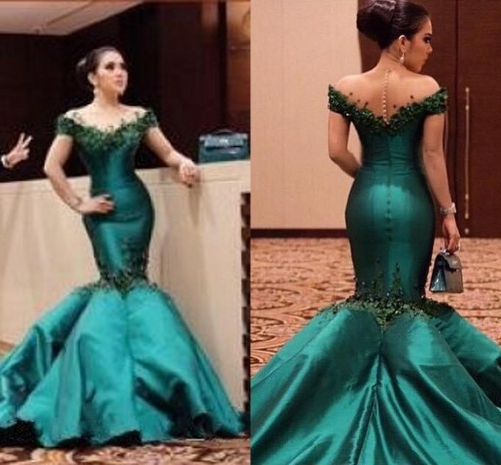 Dark Green Mermaid Prom Dresses 2019 Gorgeous Off The Shoulder Short Sleeves Appliques Plus Backless Saudi Arabic Prom Dress