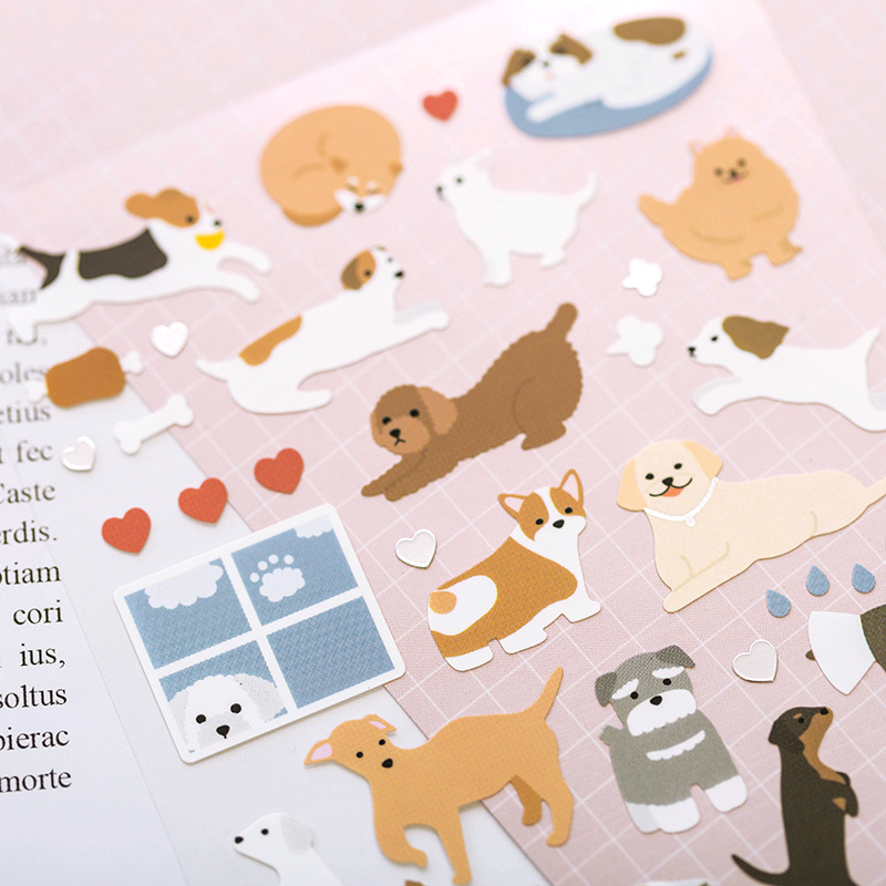 Cute Cartoon Dog Style Bullet Journal Sticker Scrapbook Decoration PVC Stationery DIY Stickers School Office Supply