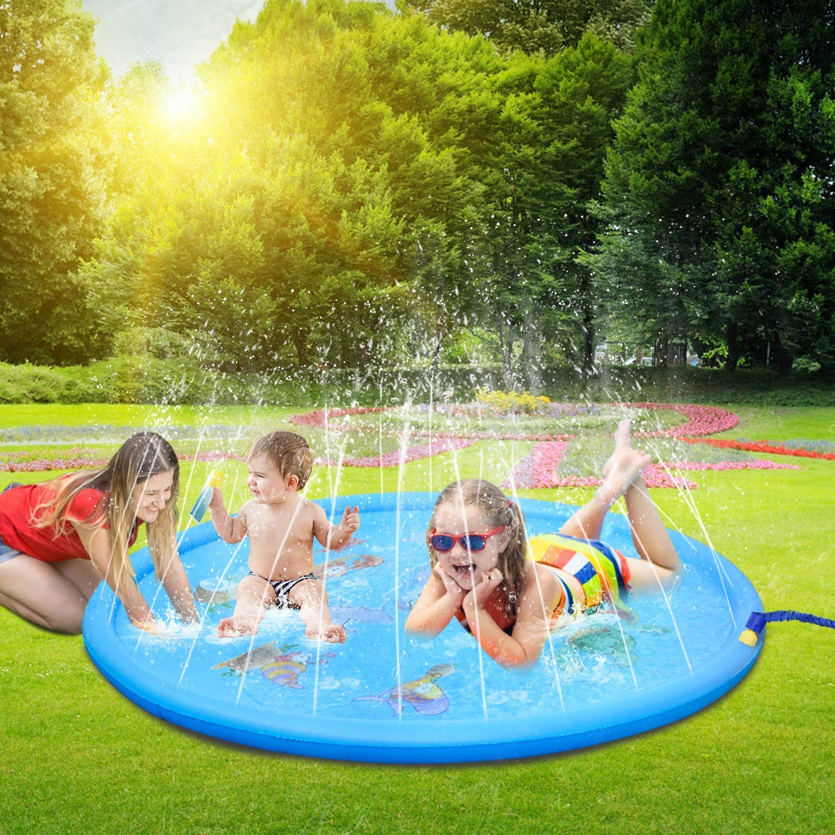Sprinkle And Splash Play Mat Outdoor Summer Water Play Pad Toy Swimming Party Gift For Kids Children Toddlers Boys Girls Blue