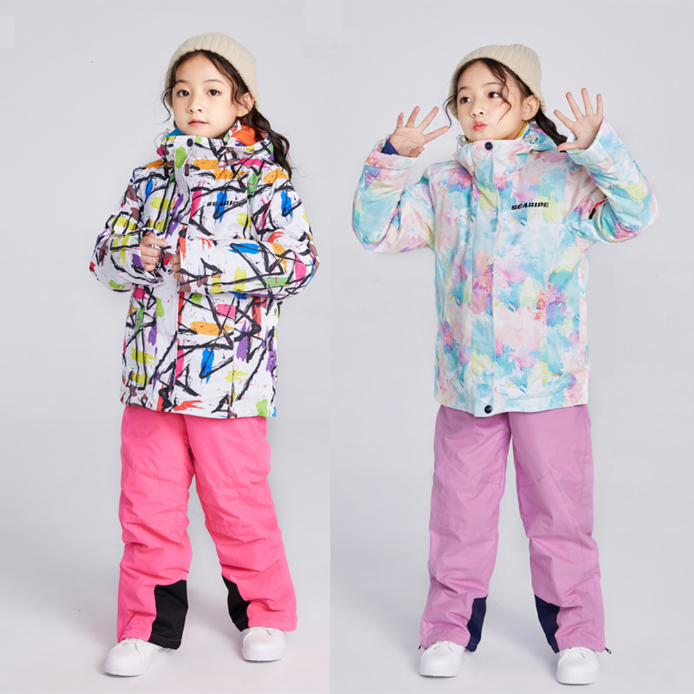 Kids Ski Suit Children Windproof Waterproof 10000 Warm Girls Jacket And Pant Snow Set Winter Skiing And Snowboarding Outdoorwear