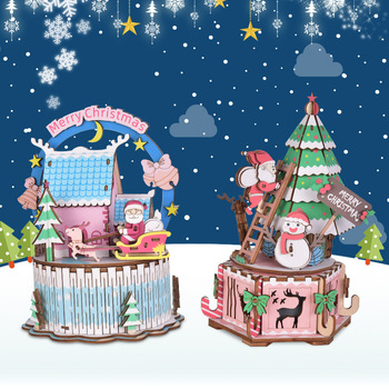 6 Models Creative 3D Wooden Puzzle Game Assembly DIY Rotatable Music Box Toys Gift For Children Adult