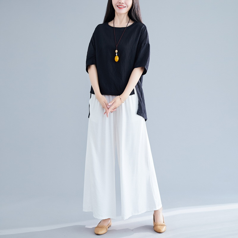 2019 Summer New Style Retro Solid Color Cotton Linen Irregular Tops T-shirt + Loose Pants Fashion Casual WOMEN'S Suit