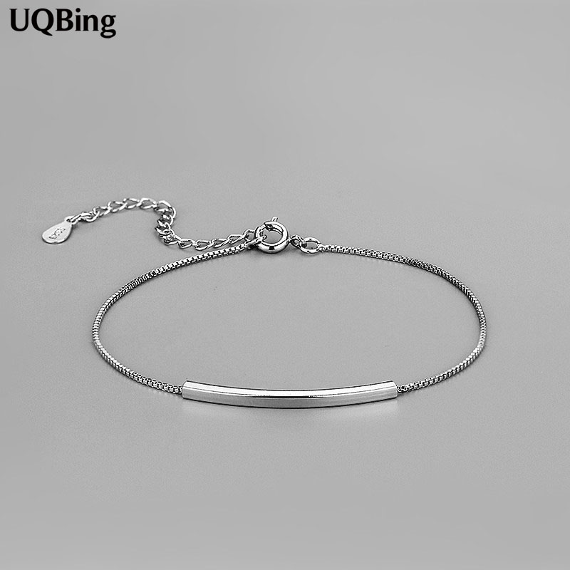 925 Sterling Silver Chain Armband Rent Sterling Silver 925 Simple Armband Smycken Pulseras Pulseira