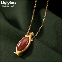 Uglyless Cuties Bottle Pendants for Women Natural Agate Necklaces + Chains Gold Plated 925 Silver Turquoise Fine Jewelry P1124