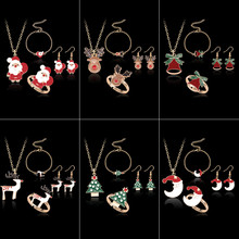 Creative DIY Enamel Santa Tree And Deer Pendant Set Ornament For Women Alloy Animal Child Girl Christmas Gift Dropshipping(China)