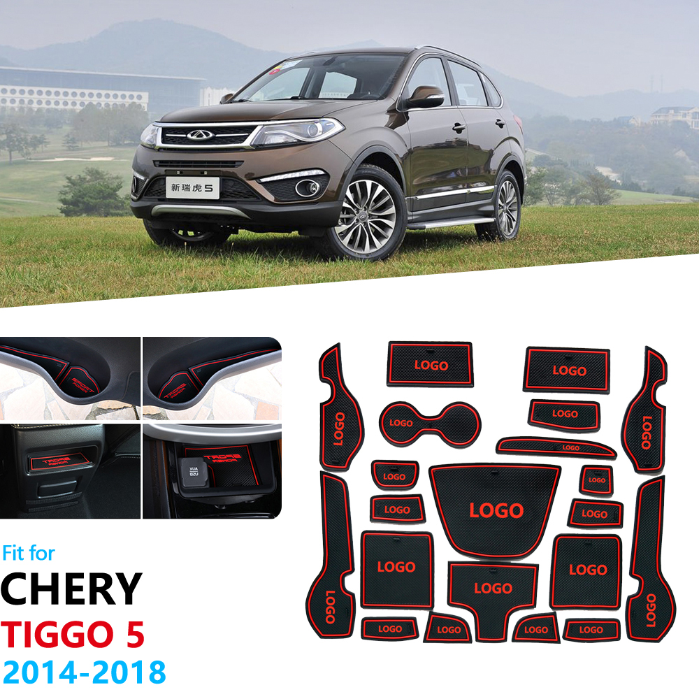 For Chery Tiggo 5 2014 2015 2016 2017 2018 Grand Tiggo5 Anti-Slip Rubber Gate Slot Cup Mat Door Groove Mat Car Accessories
