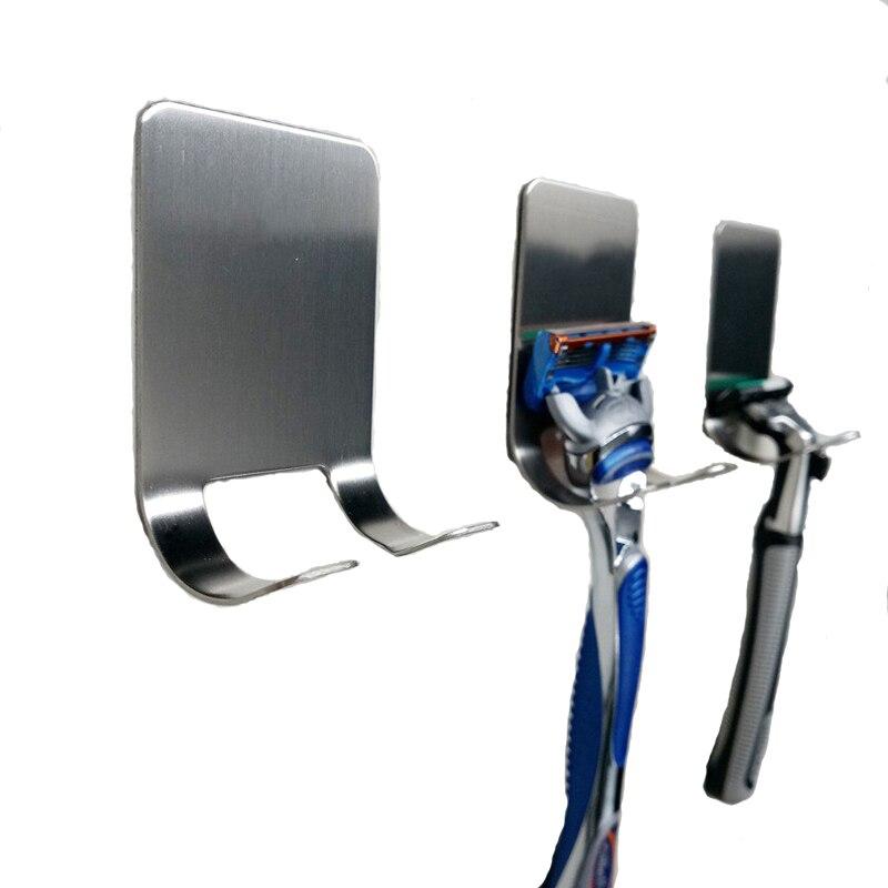 1Pcs Shaving Razor Holder Shower Stainless Steel Bathroom Wall Razor Rack Men Shaver Shelf Hanger Kitchen Adhesive Storage Hook