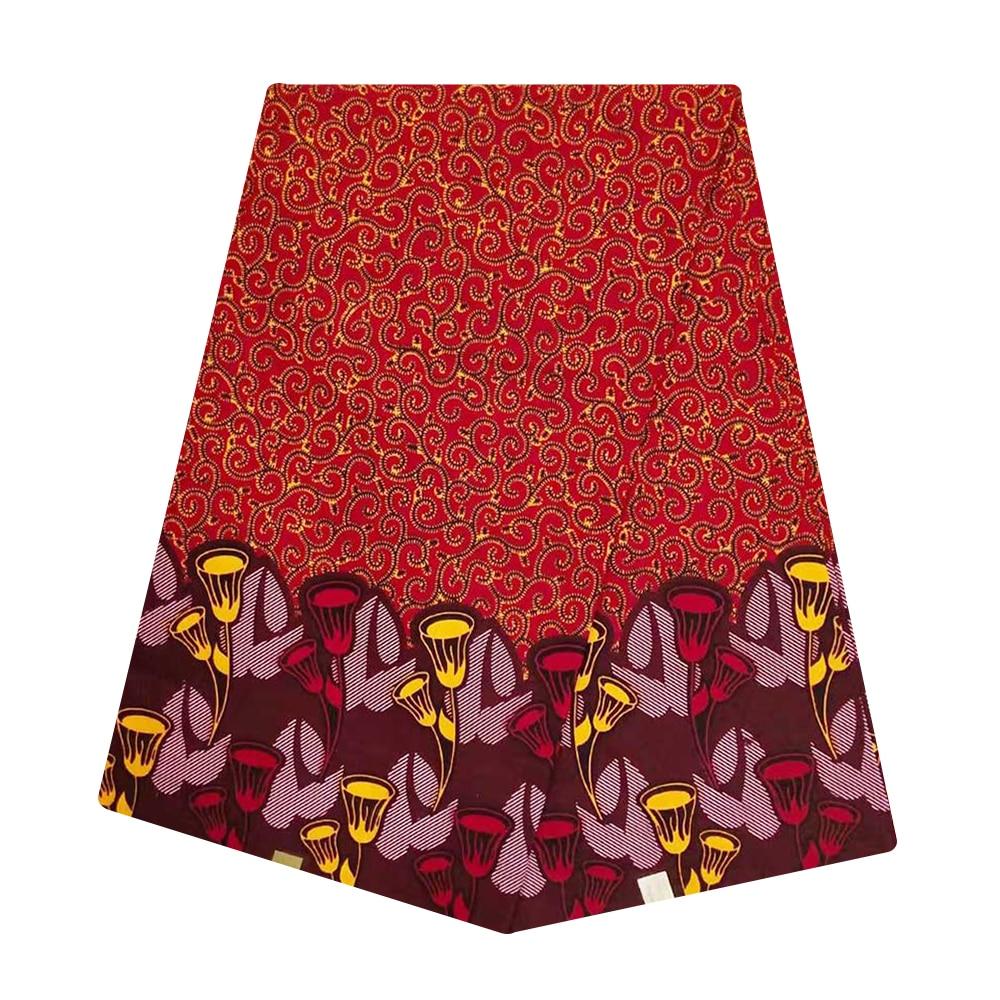 Red Ghana African Super Wax Fabric Cotton Veritable Dutch Block Print Nigerian Tissu Wax Pange Materials For Batik Dress