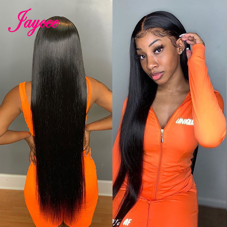 Wig Straight Human-Hair-Wigs Lace-Front 36inch Pre-Plucked Long 34 30-32 150-%