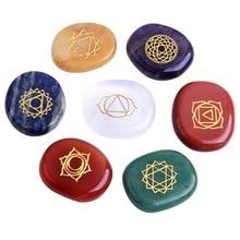 7pcs/set Chakra Stone Set  Natural Stone Pieces Divination Tool Board Game Accessory