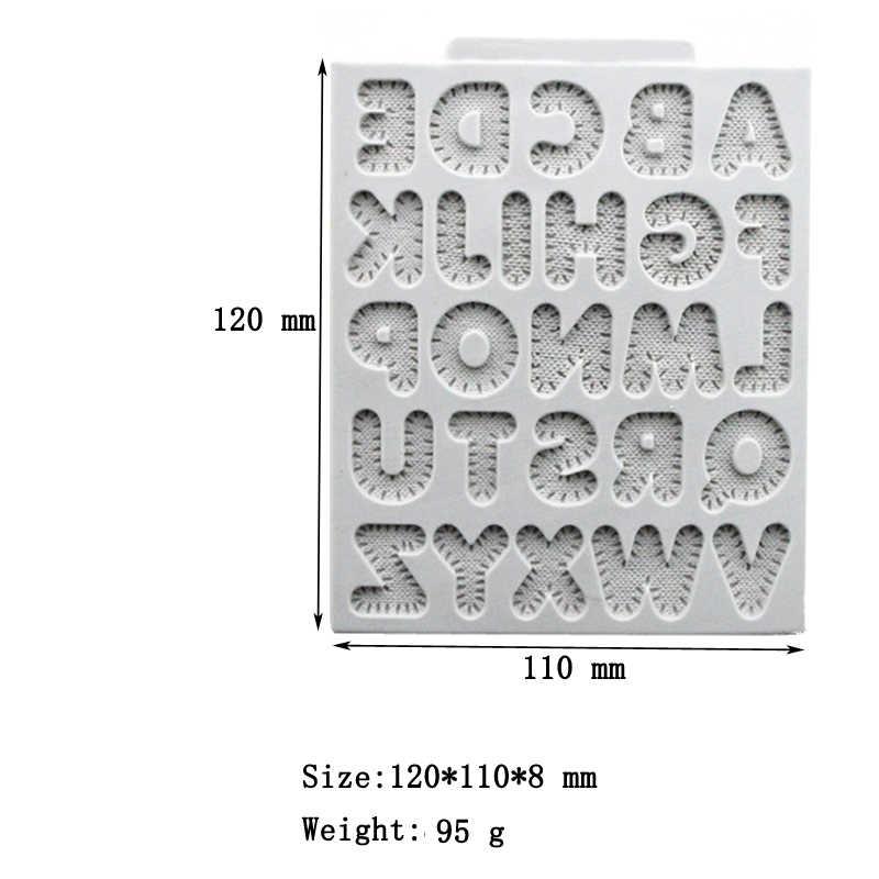 เย็บตัวอักษรซิลิโคน Fondant เค้กแม่พิมพ์รูปแบบตัวอักษรบิสกิตช็อกโกแลตหมากฝรั่งวางน้ำตาลหัตถกรรมตกแต่งแม่พิมพ์
