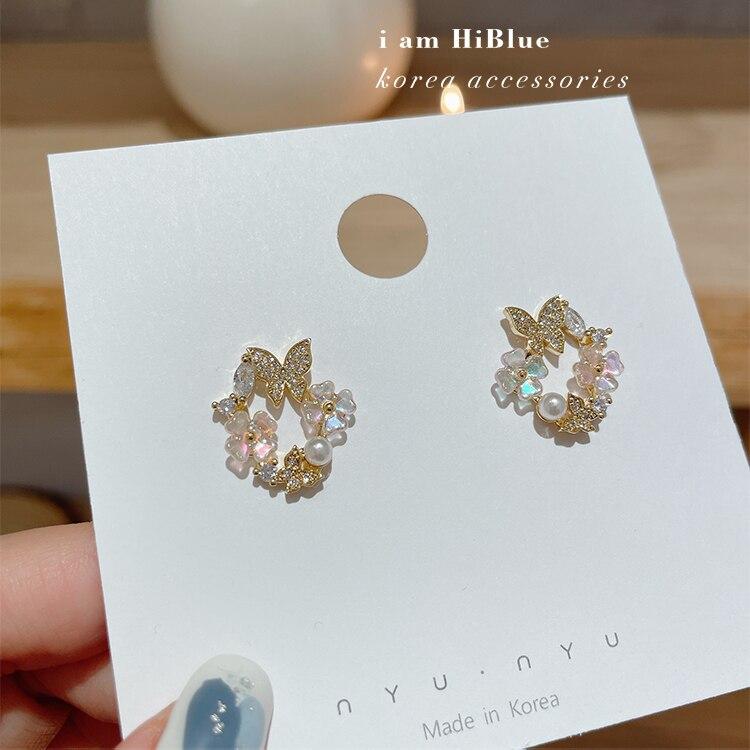 Korean new design fashion jewelry 14K gold plating zircon shell flower butterfly earrings elegant women's wedding accessories