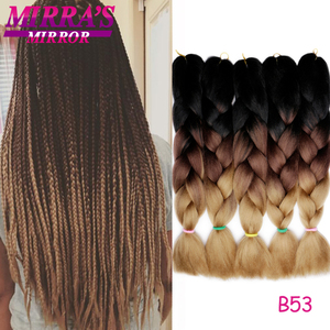 "Image 2 - Mirras Mirror 5Pcs 3 Tone Ombre Jumbo Braids Hair For Braiding Brown Synthetic Hair Extensions Ombre Crochet Hair 24"" 100g"