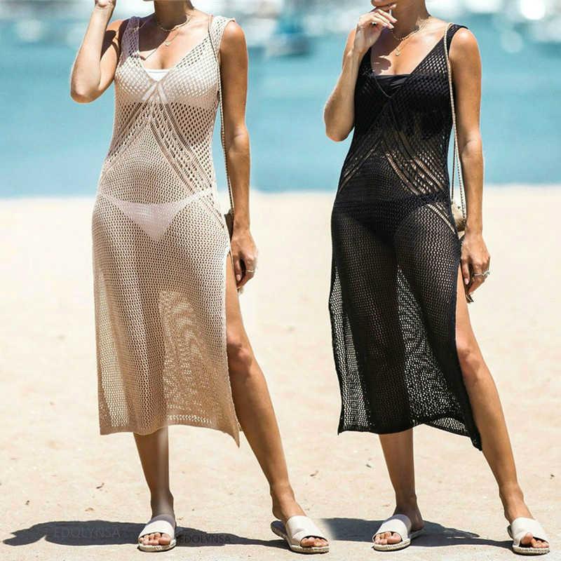 2020 kapak-Up seksi kayış açık geri örme yaz plaj örgü elbise tığ tunik kadınlar Beachwear mayo Cover Up Sarongs q902