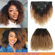 8 Clip di pz/set In estensioni della testa piena dei capelli di Remy Clip riccia crespa mongola di Afro Ins Ombre 1b/4/27 estensioni dei capelli umani