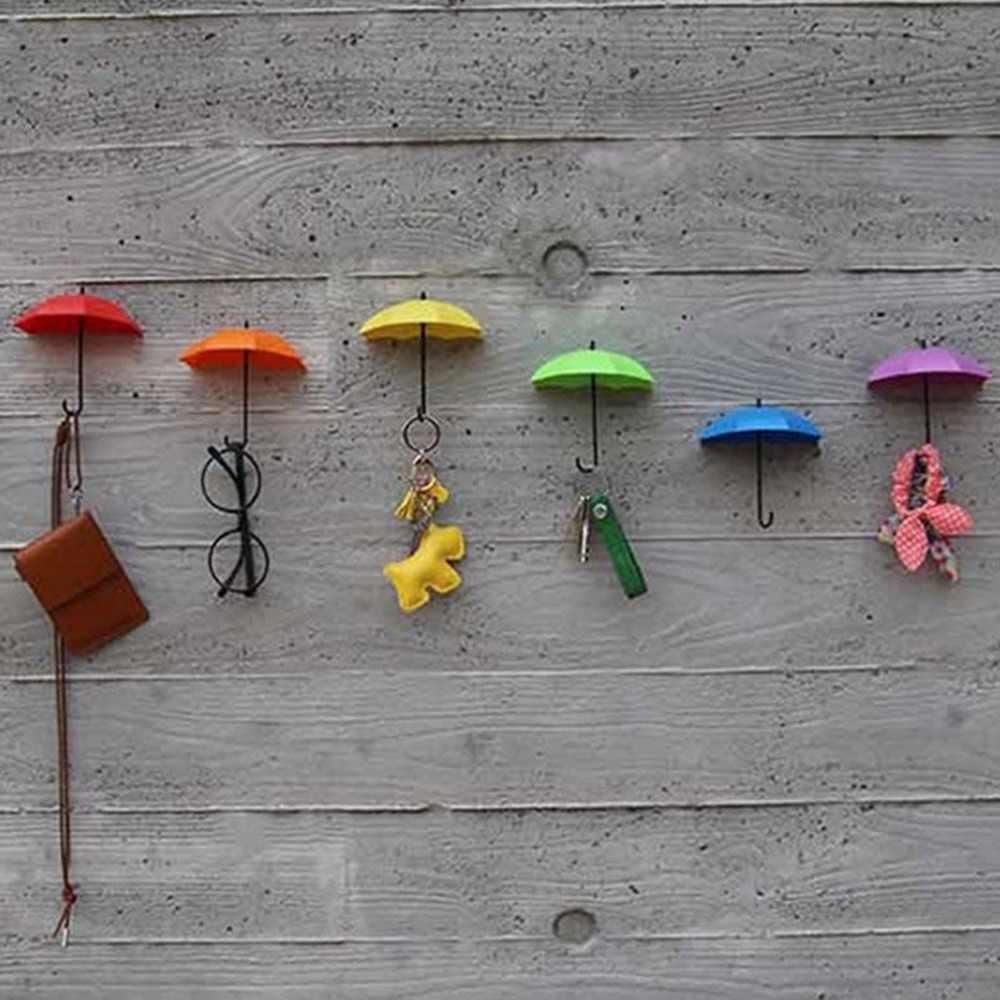 2018 yeni 3 adet renkli şemsiye duvar kanca anahtar saç tokası tutucu organizatör dekoratif marka yeni şemsiye duvar kancaları noel