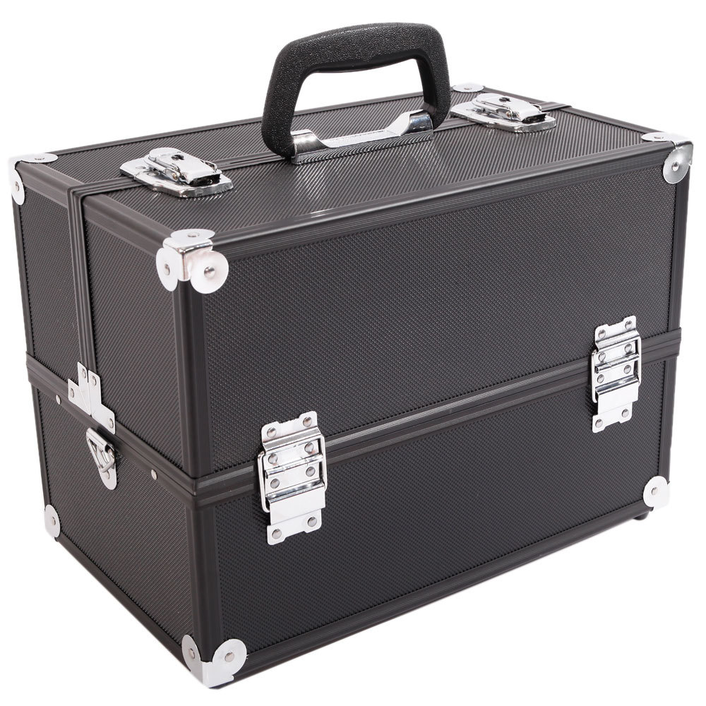 Large Aluminum Alloy Multifunctional Makeup Case Makeup Train Case Jewelry Box Organizer With Carry Handle