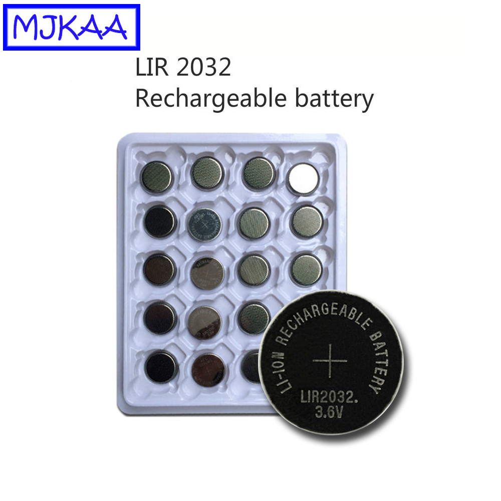 MJKAA 40Pcs LIR2032 3.6V Rechargeable Lithium <font><b>Battery</b></font> LIR <font><b>2032</b></font> Button Coin Cell <font><b>Batteries</b></font> Repeatedly Used 500 Times Replace image