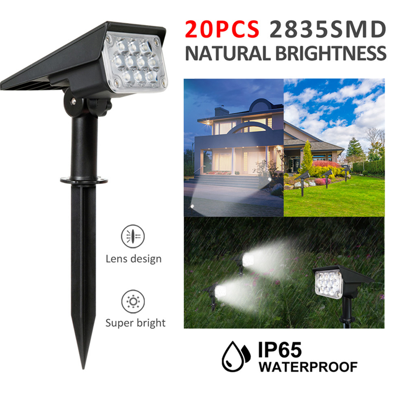 T-SUN 20LED Adjustable Solar Spotlight Solar Garden Light IP65 Super Bright Landscape Wall Light Outdoor Light 6000k Solar Lamp