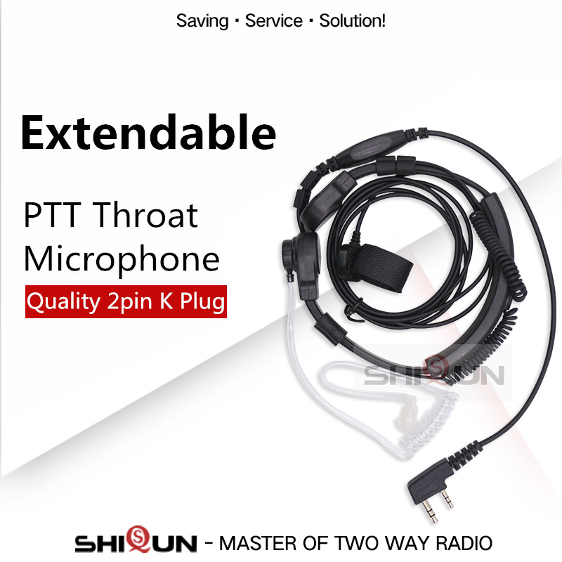 Extendable PTT Throat Microphone Mic Earpiece Headset For Baofeng Radio UV-5R UV-82 BF-888S Quansheng TG-UV2 Throat Headphone