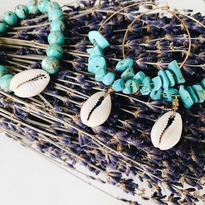 New 2019 Fashion Shell Bracelet Natural Stone Earring Set For Women Colorful BOHO Jewelry