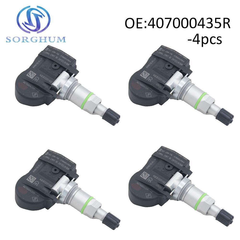 4 pces 407000435r tpms sensor de pressão dos pneus para renault megane laguna fluência latitude 433 mhz 40700-0435r, s180052064z