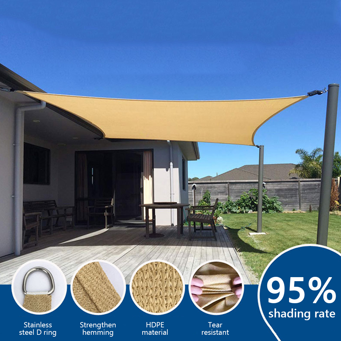 HDPE Anti-UV Waterproof Sun Shelter Sunshade Protection Outdoor Canopy Garden Patio Pool Shade Sail Awning Camping Picnic Tent