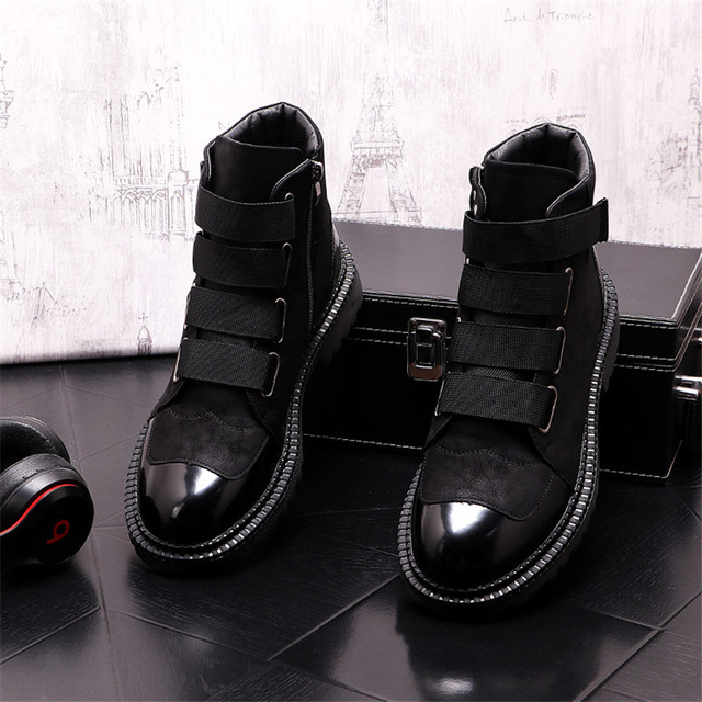 Botas de felpa cálidas para Hombre, botines estilo Punk para motocicleta, aumento de altura 2